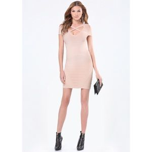 Bebe Clasp Cage Bandage Dress in Neutral